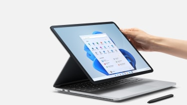 A photograph of the Microsoft Surface Laptop Studio being put into 'Stage Mode'