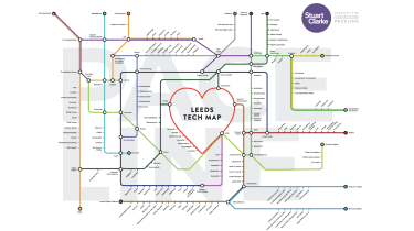 A computer-generated map of the Leeds digital sector