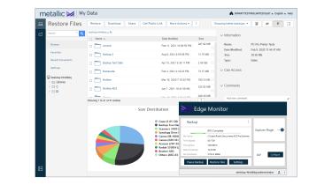 A screenshot of Commvault Metallic's Exchange file restoration tools