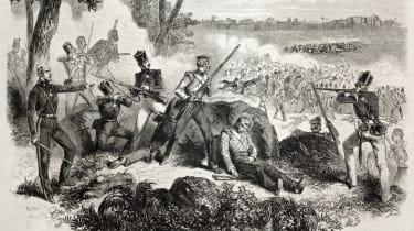 Old illustration of British soldiers defending against insurgents near Delhi
