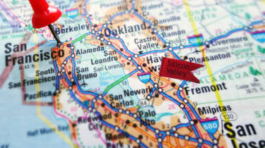 A map of the US West Coast with San Francisco and Silicon Valley pinned