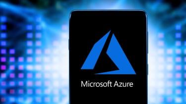 The Microsoft Azure logo on a smartphone