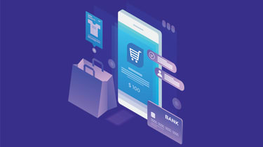 An abstract concept of someone making online purchases on a smartphone