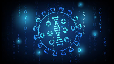 Abstract image showing a digital mockup of a virus cell