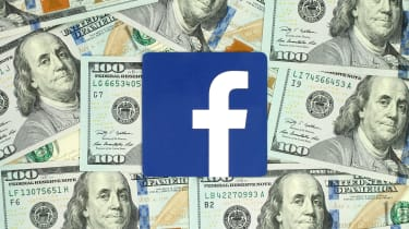 Facebook logo surrounded by money