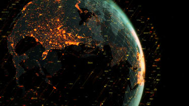An illustration of the earth seen from space, surrounded by data