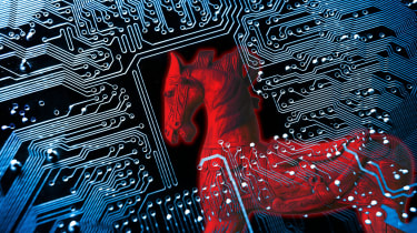 Red horse image imposed atop a circuitboard