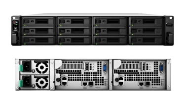 The front and back views of the Synology SA3200D NAS drive