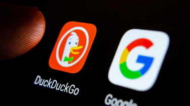 DuckDuckGo and Google thumbnails on a smartphone screen