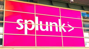 Magenta Splunk sign on a building