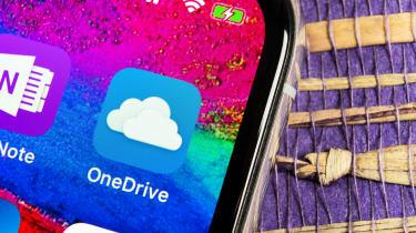 OneDrive logo on a smartphone screen