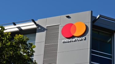 Mastercard logo on corporate building