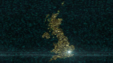 A digital map of the UK in yellow on a dark green background