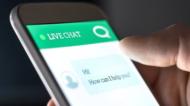 Live chat interface on a smartphone