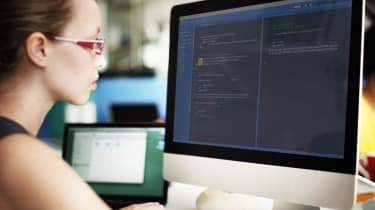 Female computer programmer working
