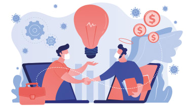 Illustration of two figures wearing face masks shaking hands with a light bulb above their heads