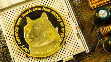 A graphic of the Doge cryptocurrency