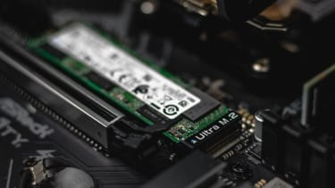 An SSD shown inside a PC system