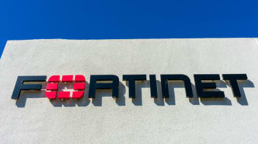 Fortinet sign on a grey building