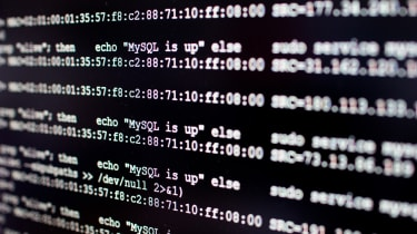 Linux code on a black background