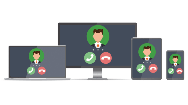 A graphic of a laptop, desktop, tablet and smartphone all showing an incoming VoIP call