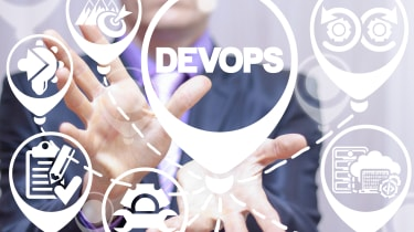 DevOps thought bubbles with a person standing behind them