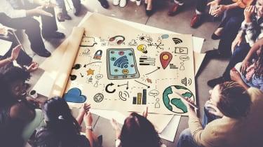 People gathered around a startup plan