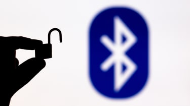 Bluetooth logo in the background with an unlocked padlock in the foreground