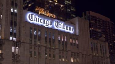 The Chicago Tribune building at night