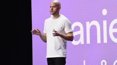 Spotify CEO Daniel Ek speaking at the company's Investor Day in 2018