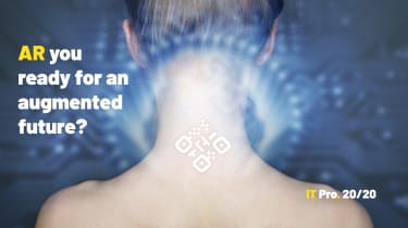 Abstract image of the back of a woman's neck fitted with a QR code