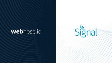 Webhose and Signal logos on mixed bancground