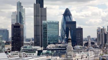 A skyline of the City of London's financial hub