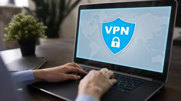 VPN software displayed on a laptop