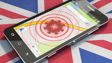 A smartphone displaying a generic contact-tracing app with British flag in the background