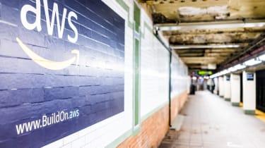 AWS advertisement close up in underground transit platform in NYC Subway Station,