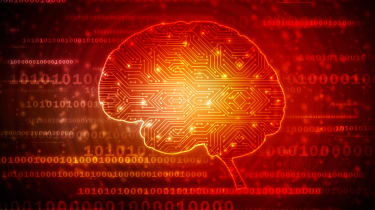 A 2d picture of a brain one a background of binary in red and black