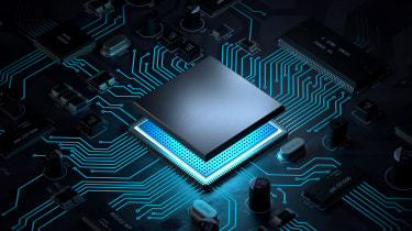 Abstract image of a glowing processor being inserted onto a black motherboard