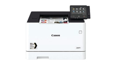 A Canon i-Sensys LBP664Cx seen from the front against a white background