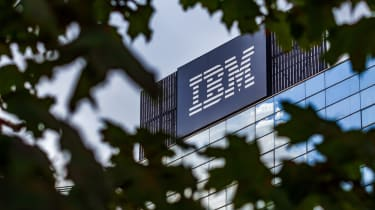 IBM's headquarters, seen through a bush