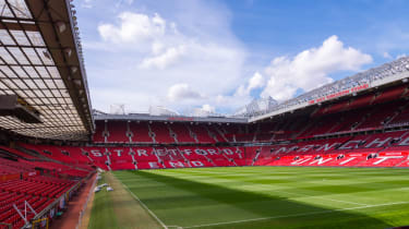 Wide shot of Old Trafford, the stadium of Man Utd Football Club