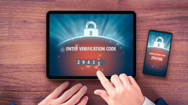 The two-factor authentication (2FA) process displayed on tablet and smartphone displays