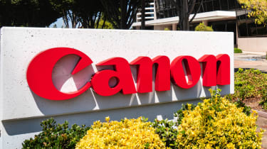 Canon sign at the Canon Solutions America offices in Silicon Valley