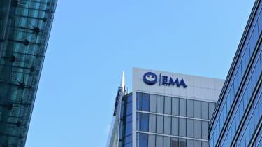 Blue European Medicines Agency logo on their HQ in London