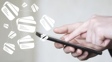 A person swiping through a smartphone with graphics of virtual cards