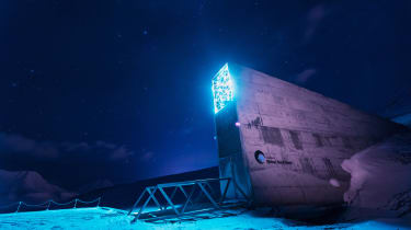 The entrance to the Svalbard Global Seed Vault at night
