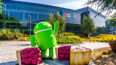 Google Android character waving from inside a fake raspberry pie