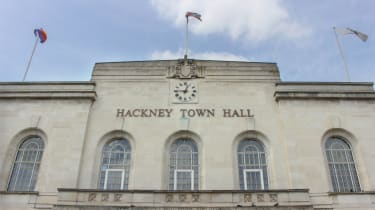 A front view of Hackney Town Hall, UK