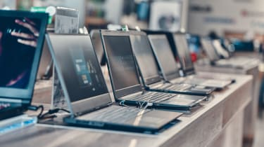Laptops on a shop display