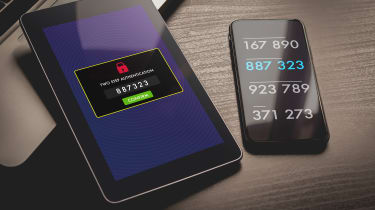 Smartphone and tablet displaying two-factor authentication screens